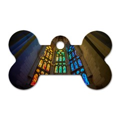 Leopard Barcelona Stained Glass Colorful Glass Dog Tag Bone (One Side)