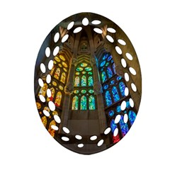 Leopard Barcelona Stained Glass Colorful Glass Oval Filigree Ornament (Two Sides)