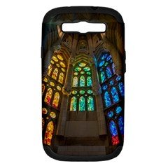 Leopard Barcelona Stained Glass Colorful Glass Samsung Galaxy S III Hardshell Case (PC+Silicone)