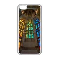 Leopard Barcelona Stained Glass Colorful Glass Apple iPhone 5C Seamless Case (White)