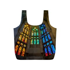 Leopard Barcelona Stained Glass Colorful Glass Full Print Recycle Bags (S)