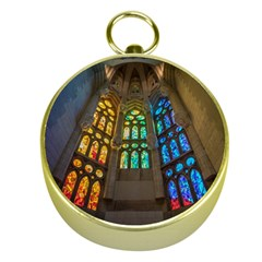 Leopard Barcelona Stained Glass Colorful Glass Gold Compasses
