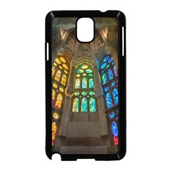 Leopard Barcelona Stained Glass Colorful Glass Samsung Galaxy Note 3 Neo Hardshell Case (Black)