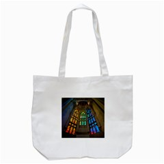 Leopard Barcelona Stained Glass Colorful Glass Tote Bag (White)