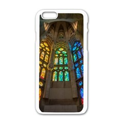 Leopard Barcelona Stained Glass Colorful Glass Apple iPhone 6/6S White Enamel Case