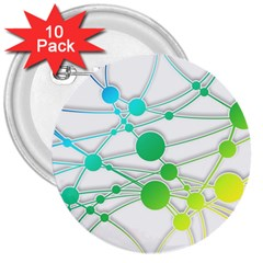 Network Connection Structure Knot 3  Buttons (10 pack)