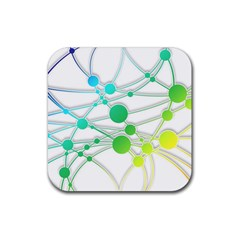 Network Connection Structure Knot Rubber Square Coaster (4 pack)