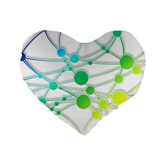 Network Connection Structure Knot Standard 16  Premium Heart Shape Cushions