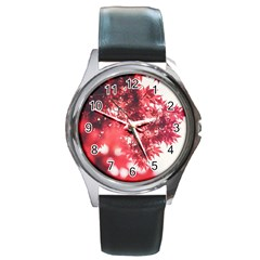 Maple Leaves Red Autumn Fall Round Metal Watch