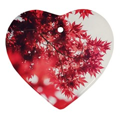 Maple Leaves Red Autumn Fall Ornament (heart)
