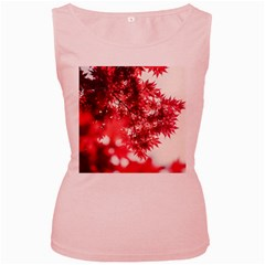 Maple Leaves Red Autumn Fall Women s Pink Tank Top