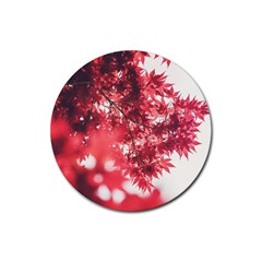 Maple Leaves Red Autumn Fall Rubber Coaster (round)