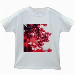 Maple Leaves Red Autumn Fall Kids White T-Shirts