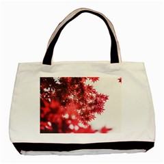 Maple Leaves Red Autumn Fall Basic Tote Bag