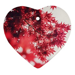 Maple Leaves Red Autumn Fall Heart Ornament (two Sides)