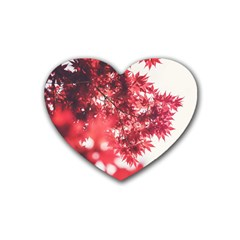 Maple Leaves Red Autumn Fall Heart Coaster (4 pack)