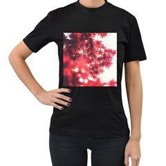 Maple Leaves Red Autumn Fall Women s T Shirt (black)