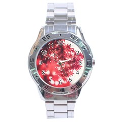 Maple Leaves Red Autumn Fall Stainless Steel Analogue Watch