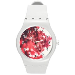 Maple Leaves Red Autumn Fall Round Plastic Sport Watch (m)