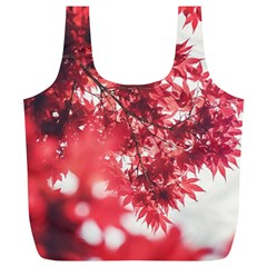 Maple Leaves Red Autumn Fall Full Print Recycle Bags (L)