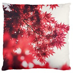 Maple Leaves Red Autumn Fall Large Flano Cushion Case (one Side)