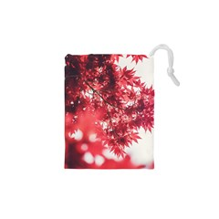 Maple Leaves Red Autumn Fall Drawstring Pouches (XS)