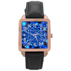 Network Connection Structure Knot Rose Gold Leather Watch