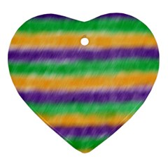 Mardi Gras Strip Tie Die Ornament (Heart)