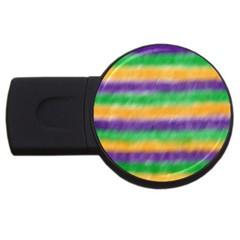 Mardi Gras Strip Tie Die USB Flash Drive Round (4 GB)