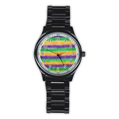 Mardi Gras Strip Tie Die Stainless Steel Round Watch