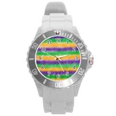 Mardi Gras Strip Tie Die Round Plastic Sport Watch (L)