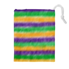 Mardi Gras Strip Tie Die Drawstring Pouches (Extra Large)