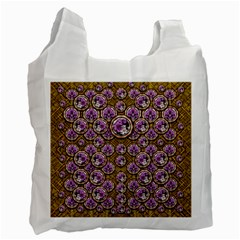 Gold Plates With Magic Flowers Raining Down Recycle Bag (One Side)
