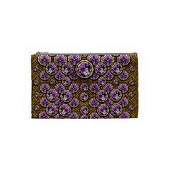 Gold Plates With Magic Flowers Raining Down Cosmetic Bag (Small)