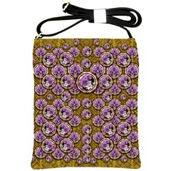 Gold Plates With Magic Flowers Raining Down Shoulder Sling Bags