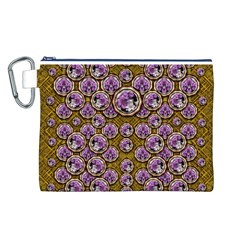 Gold Plates With Magic Flowers Raining Down Canvas Cosmetic Bag (L)