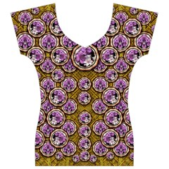 Gold Plates With Magic Flowers Raining Down Women s V-Neck Cap Sleeve Top