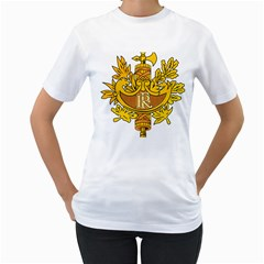 National Emblem of France  Women s T-Shirt (White) (Two Sided)