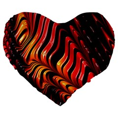 Fractal Mathematics Abstract Large 19  Premium Flano Heart Shape Cushions