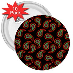 Pattern Abstract Paisley Swirls 3  Buttons (10 pack)