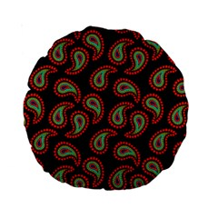 Pattern Abstract Paisley Swirls Standard 15  Premium Round Cushions