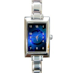 Particles Gear Circuit District Rectangle Italian Charm Watch