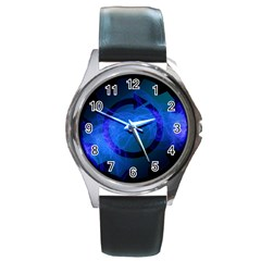 Particles Gear Circuit District Round Metal Watch