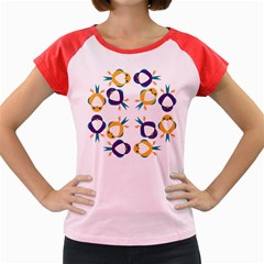 Pattern Circular Birds Women s Cap Sleeve T Shirt