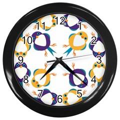 Pattern Circular Birds Wall Clocks (black)