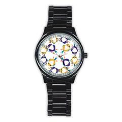 Pattern Circular Birds Stainless Steel Round Watch