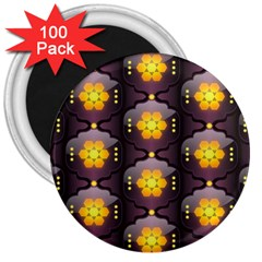 Pattern Background Yellow Bright 3  Magnets (100 Pack)