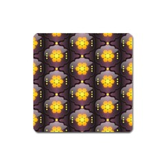 Pattern Background Yellow Bright Square Magnet
