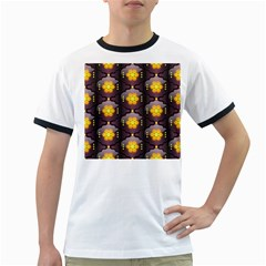 Pattern Background Yellow Bright Ringer T Shirts