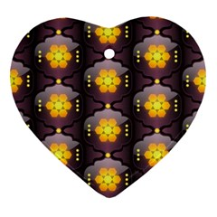 Pattern Background Yellow Bright Heart Ornament (Two Sides)